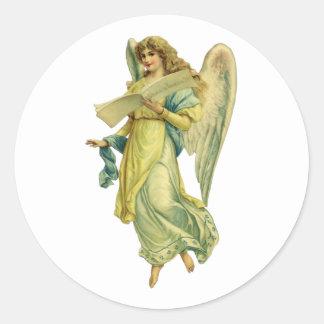 Ángel del navidad del Victorian; Gloria en Pegatina Redonda