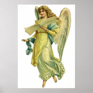 Ángel del navidad del Victorian, Gloria en Póster