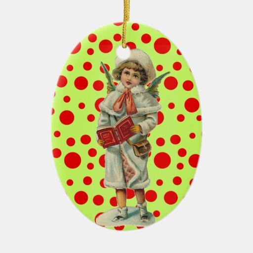 Ángel del navidad del vintage adorno navideño ovalado de cerámica