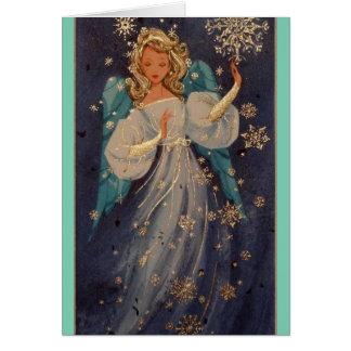 Ángel del navidad del vintage felicitacion