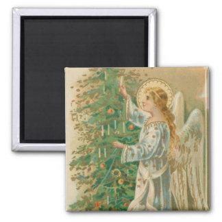 Ángel del navidad del vintage imán cuadrado