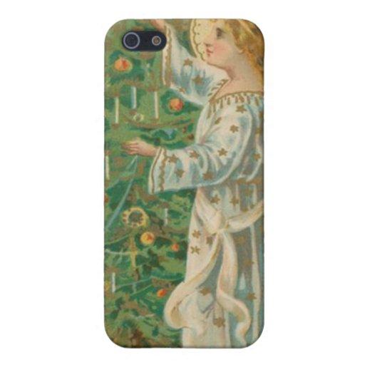 Ángel del navidad del vintage iPhone 5 protectores