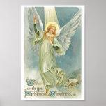 Ángel del navidad del vintage póster