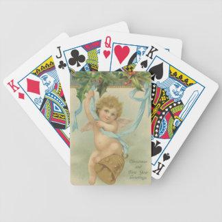 Ángel del navidad del vintage que cuelga de acebo baraja de cartas