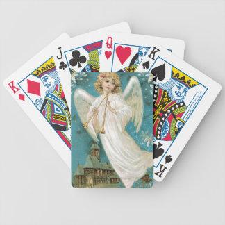 Ángel del navidad del vintage que toca la trompeta cartas de juego
