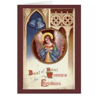 Ángel del navidad del vintage felicitaciones