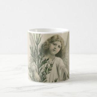 Ángel del navidad del vintage taza básica blanca