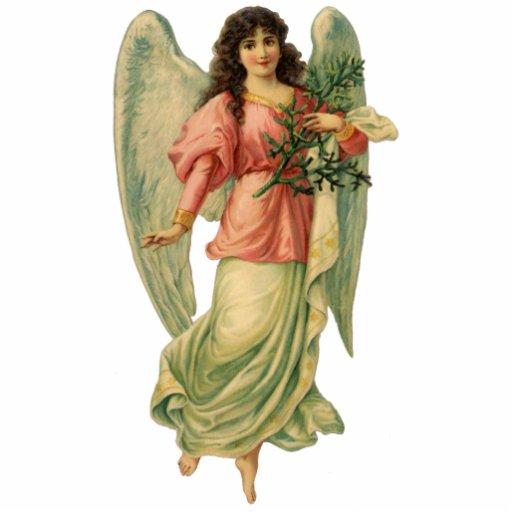 Ángel del navidad del vintage, Victorian angelical Adorno Fotoescultura