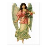 Ángel del navidad del vintage, Victorian angelical Postal