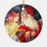 Ángel del navidad del vintage y ornamento de Santa Ornaments Para Arbol De Navidad