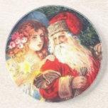 Ángel del navidad del vintage y práctico de costa  posavasos personalizados