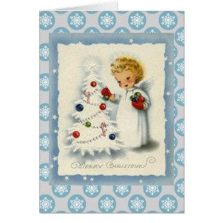 Ángel del navidad del vintage y tarjeta blanca del
