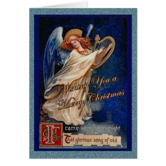 Ángel del navidad en cielo de medianoche tarjeta de felicitación