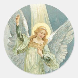 Ángel del navidad etiqueta redonda