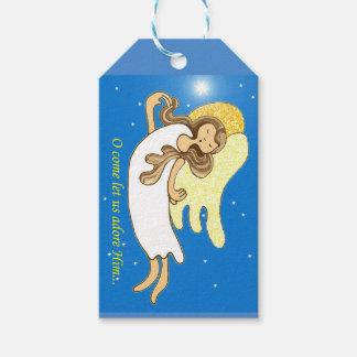 Ángel del navidad etiquetas para regalos