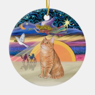 Ángel del navidad - gato de tabby anaranjado 40 adorno navideño redondo de cerámica