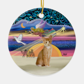 Ángel del navidad - naranja - gato de tabby blanco adorno navideño redondo de cerámica