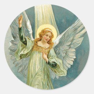 Ángel del navidad pegatina redonda