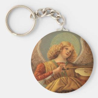 Ángel del navidad que toca el violín Melozzo DA Llavero Redondo Tipo Pin