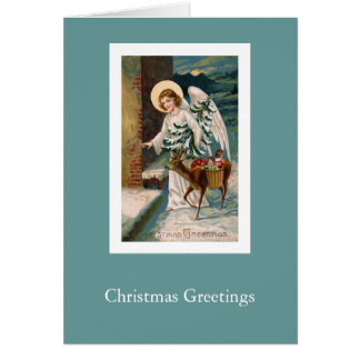 Ángel del navidad y pequeña tarjeta del vintage de
