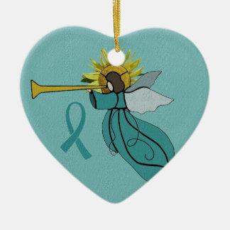 Ángel del ornamento del navidad de la esperanza adorno navideño de cerámica en forma de corazón