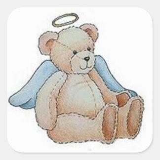 Ángel del oso de peluche del navidad pegatina cuadrada