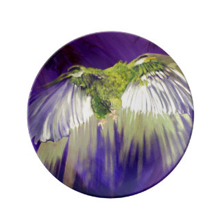 Ángel del Parakeet Plato De Cerámica