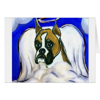 Ángel del perro del boxeador tarjeta de felicitación