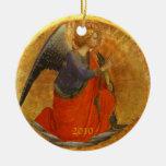 Ángel del personalizado del anuncio anticuado adorno redondo de cerámica