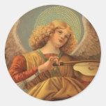 Ángel del renacimiento que toca el violín Melozzo Etiquetas Redondas
