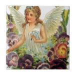Ángel del Victorian con las flores Azulejos Ceramicos