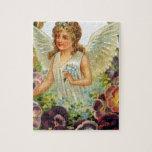 Ángel del Victorian con las flores Puzzle Con Fotos