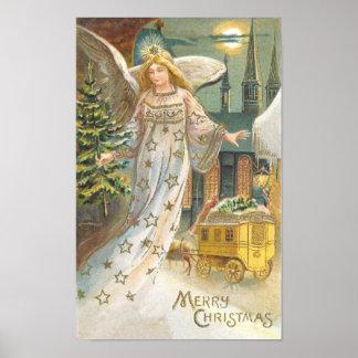 Ángel del Victorian del navidad del vintage con el Póster