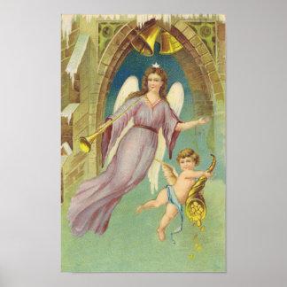 Ángel del Victorian del navidad del vintage con la Póster
