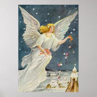 Ángel del Victorian del navidad del vintage con lo Posters