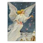 Ángel del Victorian del navidad del vintage con lo Felicitación