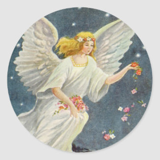 Ángel del Victorian del navidad del vintage con Pegatina Redonda