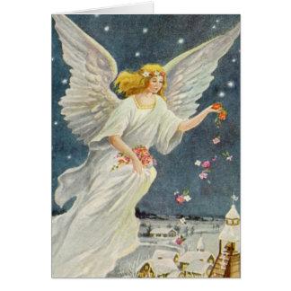Ángel del Victorian del navidad del vintage con Felicitación
