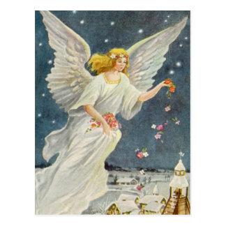 Ángel del Victorian del navidad del vintage con Tarjeta Postal
