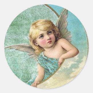 Ángel del Victorian y ejemplo del vintage de la Pegatina Redonda