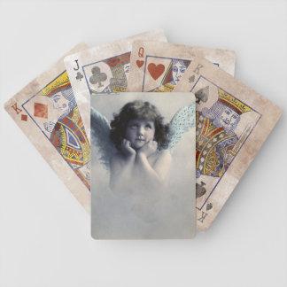 Ángel del vintage barajas de cartas