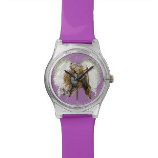 Ángel del vintage con la arpa relojes de pulsera