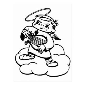Ángel del vintage el pequeño ángel enojado postal