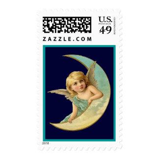 Ángel del vintage en luna sello
