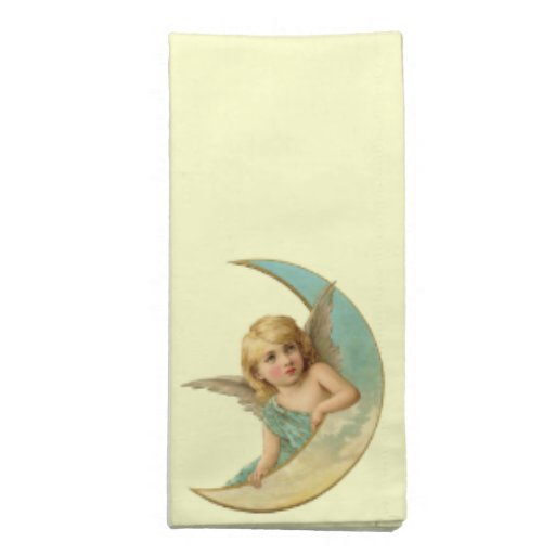 Ángel del vintage en luna servilleta imprimida