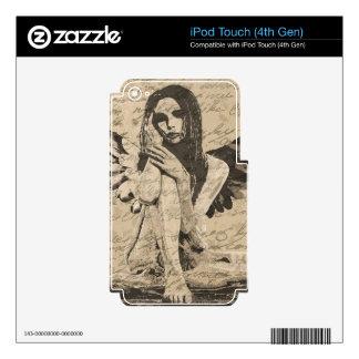 Ángel del vintage iPod touch 4G calcomanías