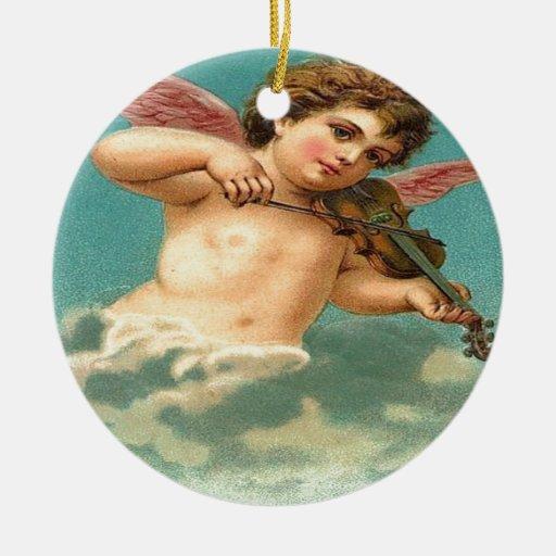 Ángel del vintage que toca el violín adorno redondo de cerámica