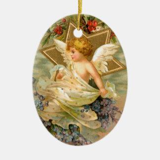 Ángel del vintage y ornamento del día de fiesta adorno ovalado de cerámica