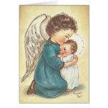 Ángel del vintage y tarjeta de Navidad de Jesús de