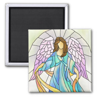 Ángel del vitral imán cuadrado